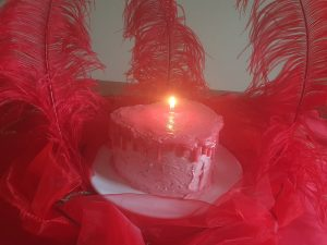 Heart Shaped Candle Cake