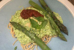 Spaghetti Pea Puree Asparagus