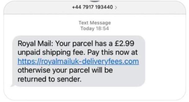 Undelivered Parcel Scams message